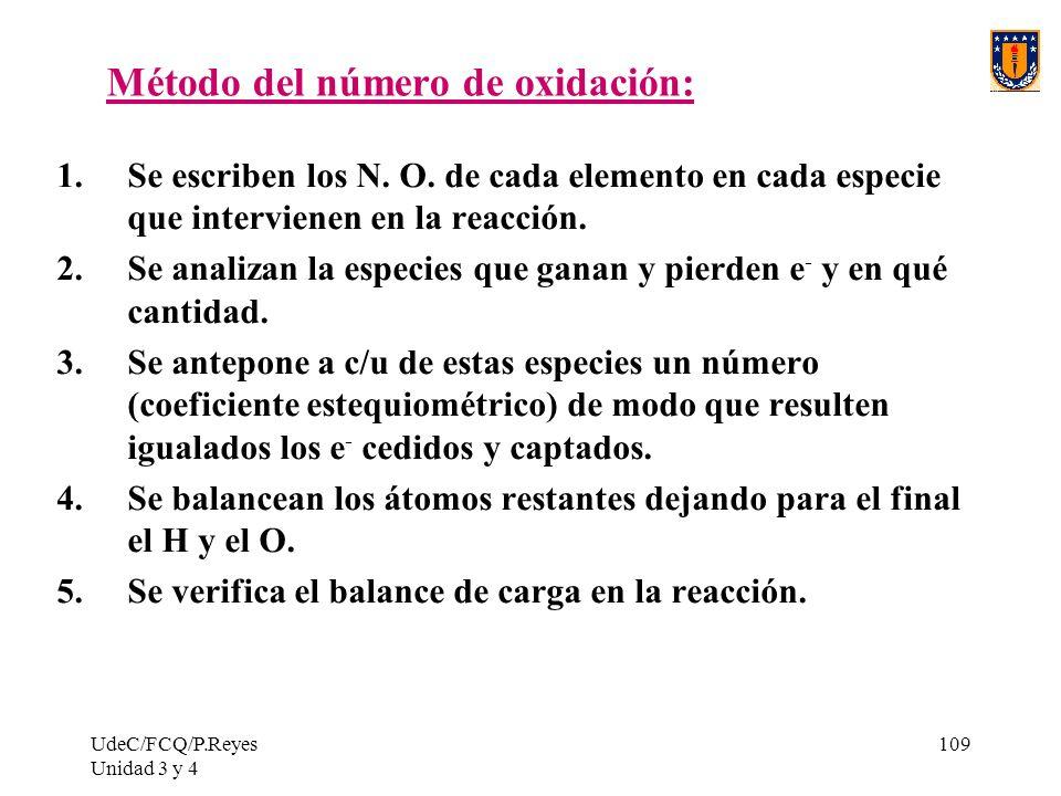 UdeC/FCQ/P.Reyes Unidad 3 y 4 109 Método del número de oxidación: 1.Se escriben los N. O. de cada elemento en cada especie que intervienen en la reacc