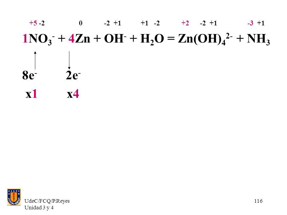 UdeC/FCQ/P.Reyes Unidad 3 y 4 116 +5 -2 0 -2 +1 +1 -2 +2 -2 +1 -3 +1 1NO 3 - + 4Zn + OH - + H 2 O = Zn(OH) 4 2- + NH 3 8e - 2e - x1 x4
