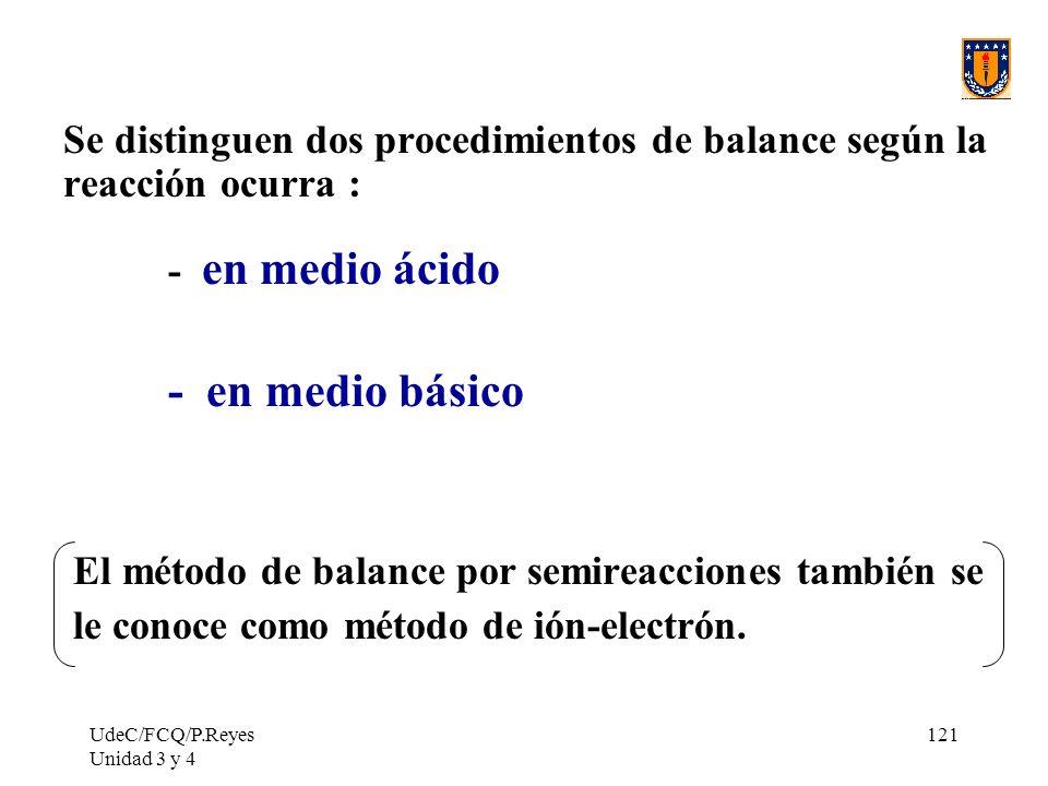 UdeC/FCQ/P.Reyes Unidad 3 y 4 121 Se distinguen dos procedimientos de balance según la reacción ocurra : - en medio ácido - en medio básico El método