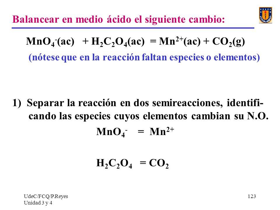 UdeC/FCQ/P.Reyes Unidad 3 y 4 123 Balancear en medio ácido el siguiente cambio: MnO 4 - (ac) + H 2 C 2 O 4 (ac) = Mn 2+ (ac) + CO 2 (g) (nótese que en