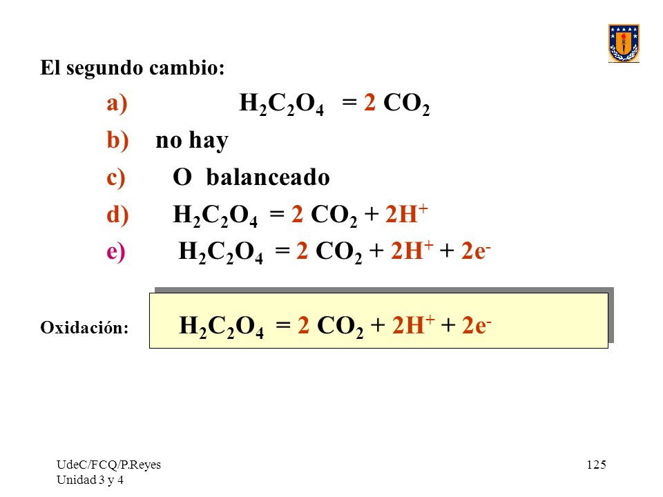 UdeC/FCQ/P.Reyes Unidad 3 y 4 125 El segundo cambio: a)H 2 C 2 O 4 = 2 CO 2 b) no hay c) O balanceado d) H 2 C 2 O 4 = 2 CO 2 + 2H + e) H 2 C 2 O 4 =