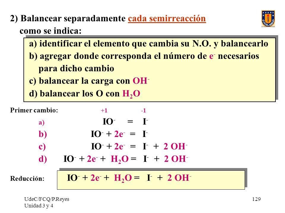 UdeC/FCQ/P.Reyes Unidad 3 y 4 129 2) Balancear separadamente cada semirreacción como se indica: a) identificar el elemento que cambia su N.O. y balanc