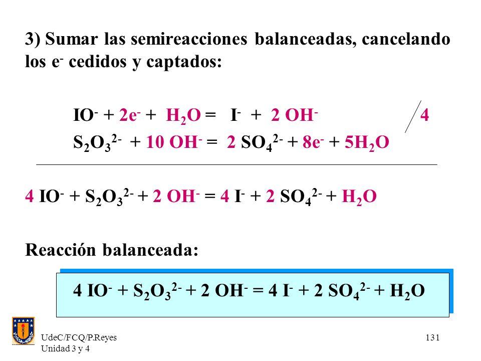 UdeC/FCQ/P.Reyes Unidad 3 y 4 131 3) Sumar las semireacciones balanceadas, cancelando los e - cedidos y captados: IO - + 2e - + H 2 O = I - + 2 OH - 4