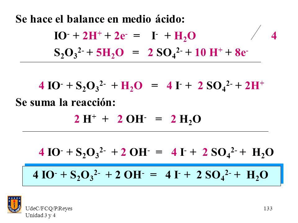UdeC/FCQ/P.Reyes Unidad 3 y 4 133 Se hace el balance en medio ácido: IO - + 2H + + 2e - = I - + H 2 O 4 S 2 O 3 2- + 5H 2 O = 2 SO 4 2- + 10 H + + 8e