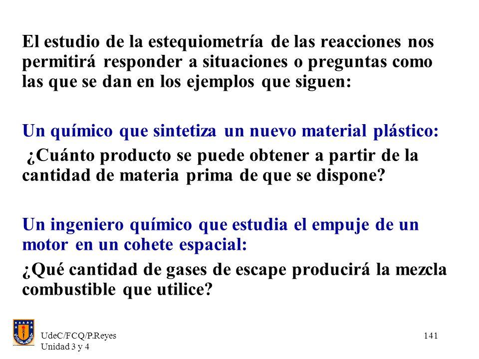 UdeC/FCQ/P.Reyes Unidad 3 y 4 141 El estudio de la estequiometría de las reacciones nos permitirá responder a situaciones o preguntas como las que se