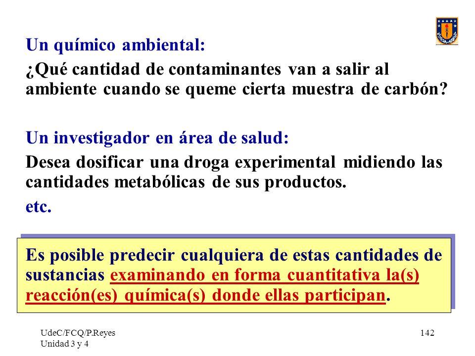 UdeC/FCQ/P.Reyes Unidad 3 y 4 142 Un químico ambiental: ¿Qué cantidad de contaminantes van a salir al ambiente cuando se queme cierta muestra de carbó