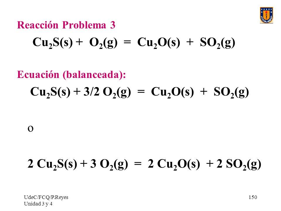UdeC/FCQ/P.Reyes Unidad 3 y 4 150 Reacción Problema 3 Cu 2 S(s) + O 2 (g) = Cu 2 O(s) + SO 2 (g) Ecuación (balanceada): Cu 2 S(s) + 3/2 O 2 (g) = Cu 2