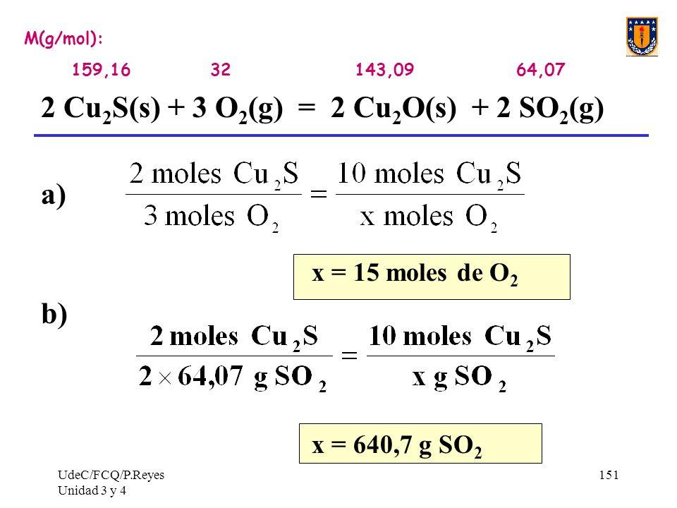 UdeC/FCQ/P.Reyes Unidad 3 y 4 151 M(g/mol): 159,16 32 143,09 64,07 2 Cu 2 S(s) + 3 O 2 (g) = 2 Cu 2 O(s) + 2 SO 2 (g) a) x = 15 moles de O 2 b) x = 64