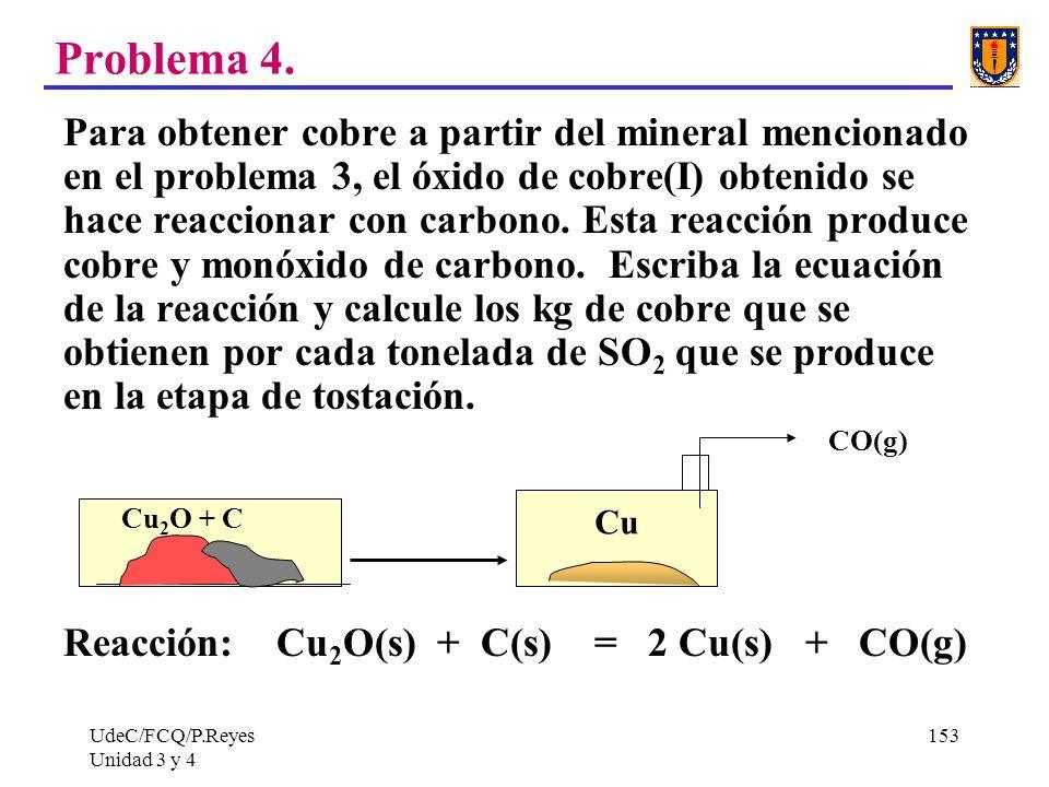 UdeC/FCQ/P.Reyes Unidad 3 y 4 153 Problema 4. Para obtener cobre a partir del mineral mencionado en el problema 3, el óxido de cobre(I) obtenido se ha