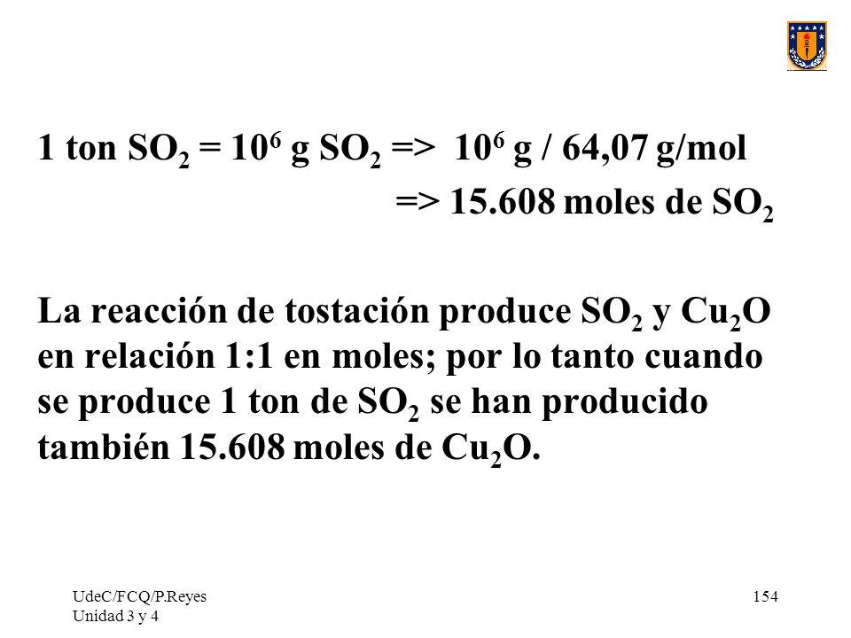 UdeC/FCQ/P.Reyes Unidad 3 y 4 154 1 ton SO 2 = 10 6 g SO 2 => 10 6 g / 64,07 g/mol => 15.608 moles de SO 2 La reacción de tostación produce SO 2 y Cu