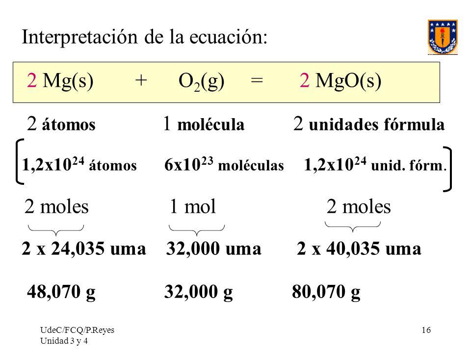 UdeC/FCQ/P.Reyes Unidad 3 y 4 16 Interpretación de la ecuación: 2 Mg(s) + O 2 (g) = 2 MgO(s) 2 átomos 1 molécula 2 unidades fórmula 1,2x10 24 átomos 6