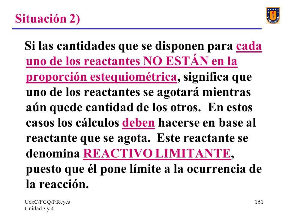 UdeC/FCQ/P.Reyes Unidad 3 y 4 161 Situación 2) Si las cantidades que se disponen para cada uno de los reactantes NO ESTÁN en la proporción estequiomét