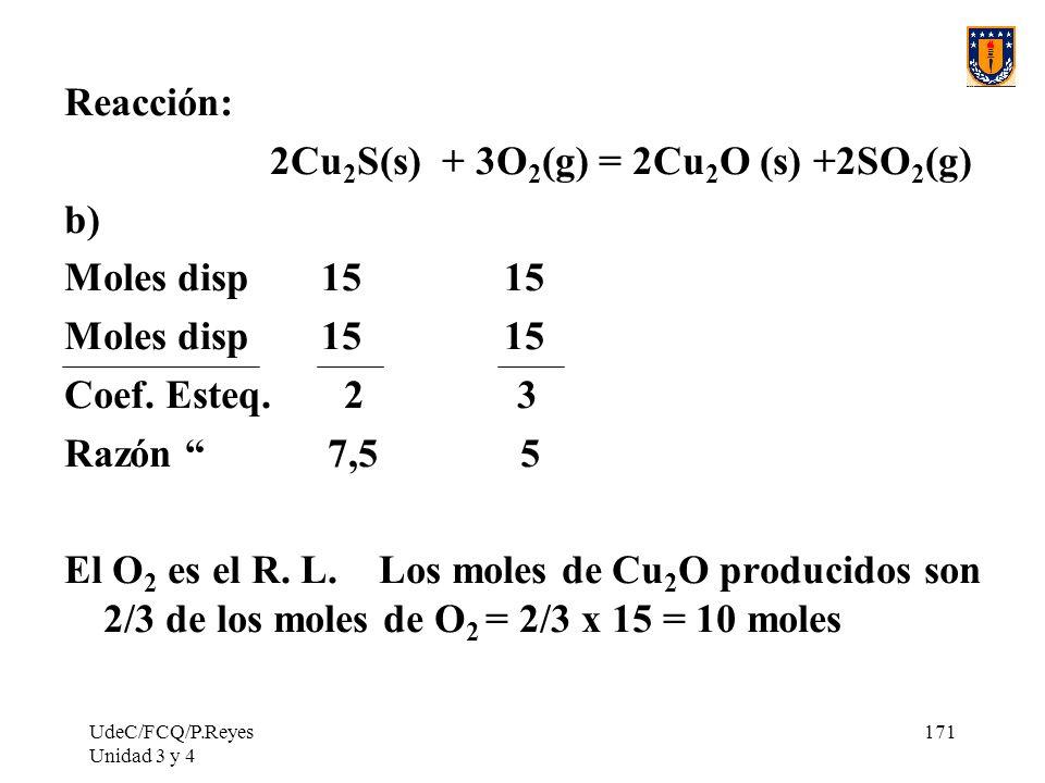 UdeC/FCQ/P.Reyes Unidad 3 y 4 171 Reacción: 2Cu 2 S(s) + 3O 2 (g) = 2Cu 2 O (s) +2SO 2 (g) b) Moles disp 15 15 Coef. Esteq. 2 3 Razón 7,5 5 El O 2 es