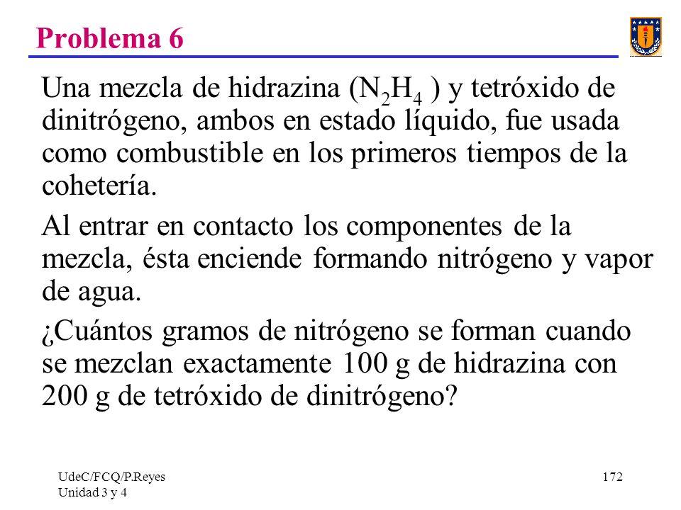 UdeC/FCQ/P.Reyes Unidad 3 y 4 172 Problema 6 Una mezcla de hidrazina (N 2 H 4 ) y tetróxido de dinitrógeno, ambos en estado líquido, fue usada como co