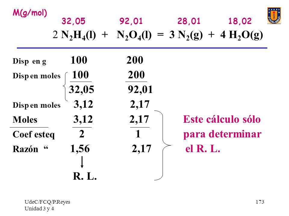 UdeC/FCQ/P.Reyes Unidad 3 y 4 173 M(g/mol) 32,05 92,01 28,01 18,02 2 N 2 H 4 (l) + N 2 O 4 (l) = 3 N 2 (g) + 4 H 2 O(g) Disp en g 100 200 Disp en mole