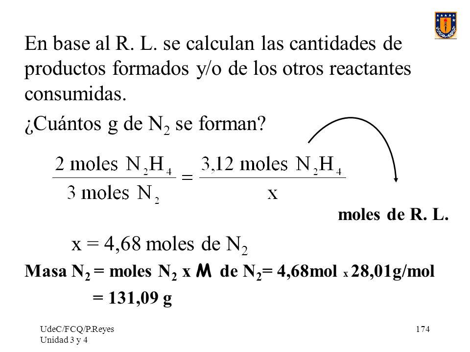UdeC/FCQ/P.Reyes Unidad 3 y 4 174 En base al R. L. se calculan las cantidades de productos formados y/o de los otros reactantes consumidas. ¿Cuántos g