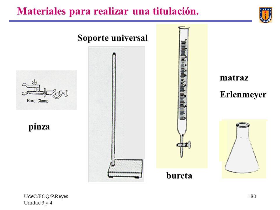 UdeC/FCQ/P.Reyes Unidad 3 y 4 180 Materiales para realizar una titulación. pinza Soporte universal bureta matraz Erlenmeyer