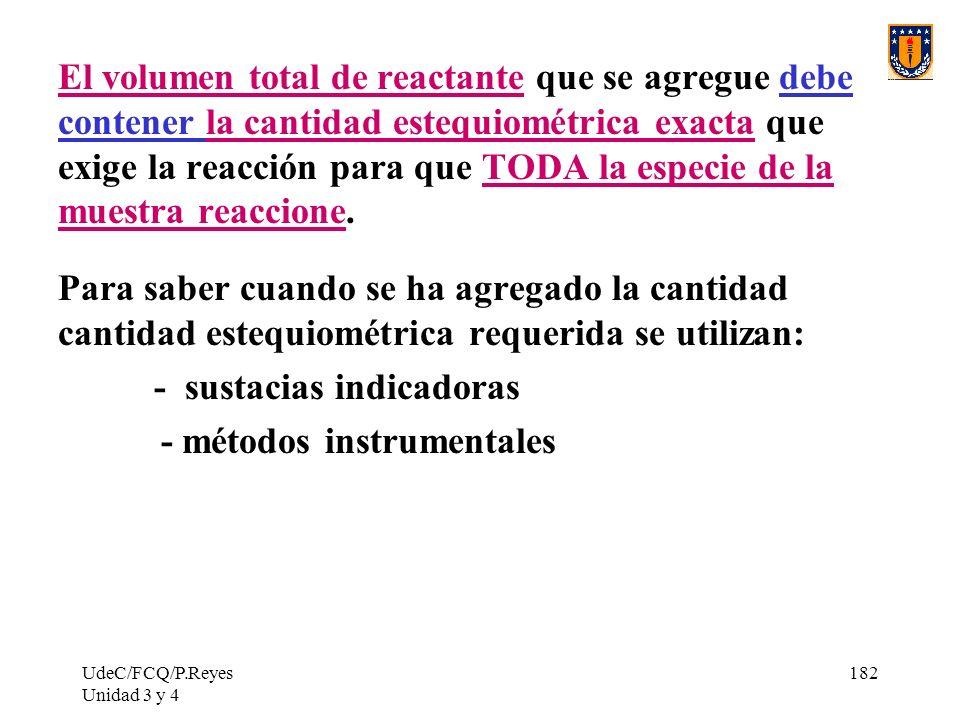 UdeC/FCQ/P.Reyes Unidad 3 y 4 182 El volumen total de reactante que se agregue debe contener la cantidad estequiométrica exacta que exige la reacción