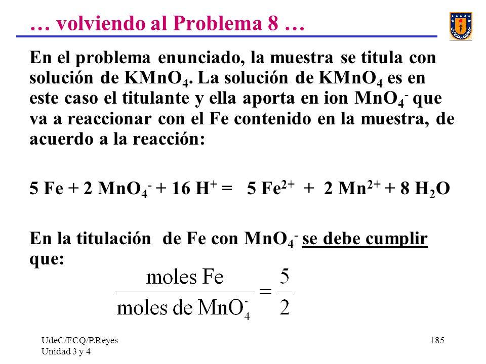 UdeC/FCQ/P.Reyes Unidad 3 y 4 185 … volviendo al Problema 8 … En el problema enunciado, la muestra se titula con solución de KMnO 4. La solución de KM