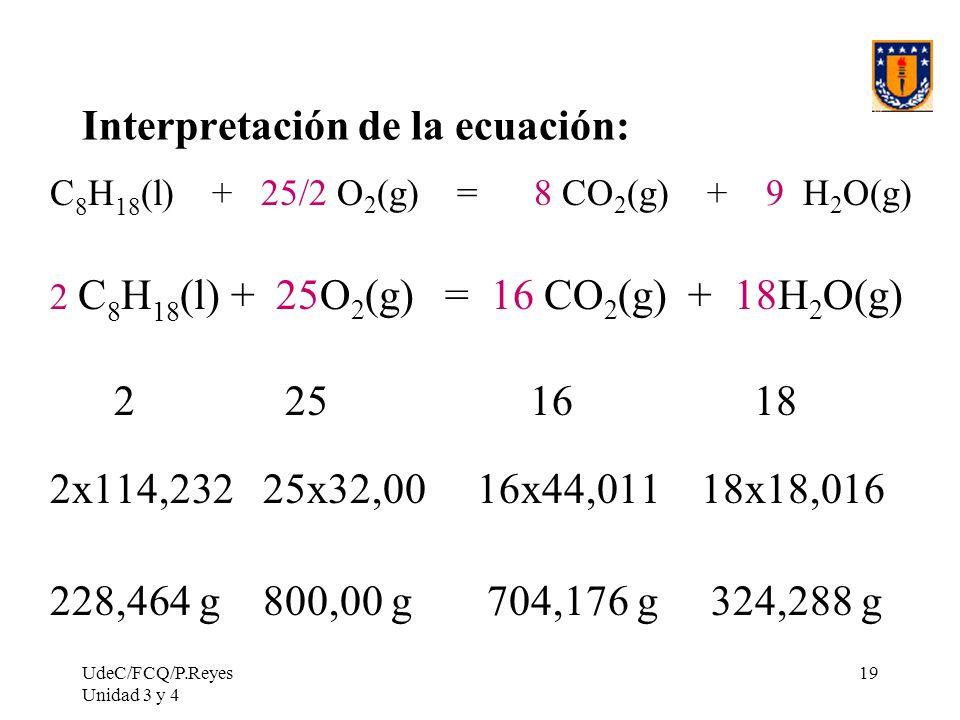 UdeC/FCQ/P.Reyes Unidad 3 y 4 19 Interpretación de la ecuación: C 8 H 18 (l) + 25/2 O 2 (g) = 8 CO 2 (g) + 9 H 2 O(g) 2 C 8 H 18 (l) + 25O 2 (g) = 16