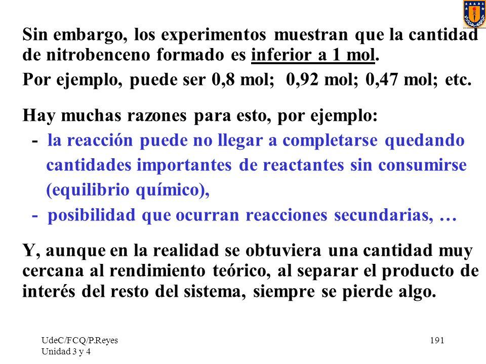 UdeC/FCQ/P.Reyes Unidad 3 y 4 191 Sin embargo, los experimentos muestran que la cantidad de nitrobenceno formado es inferior a 1 mol. Por ejemplo, pue