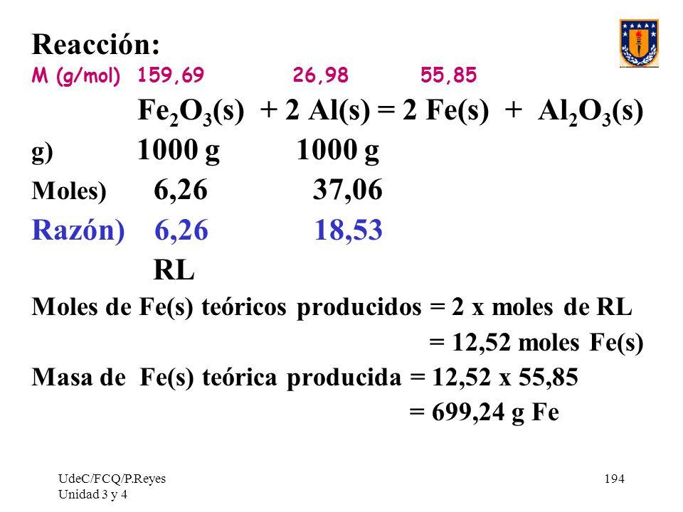 UdeC/FCQ/P.Reyes Unidad 3 y 4 194 Reacción: M (g/mol) 159,69 26,98 55,85 Fe 2 O 3 (s) + 2 Al(s) = 2 Fe(s) + Al 2 O 3 (s) g) 1000 g 1000 g Moles) 6,26