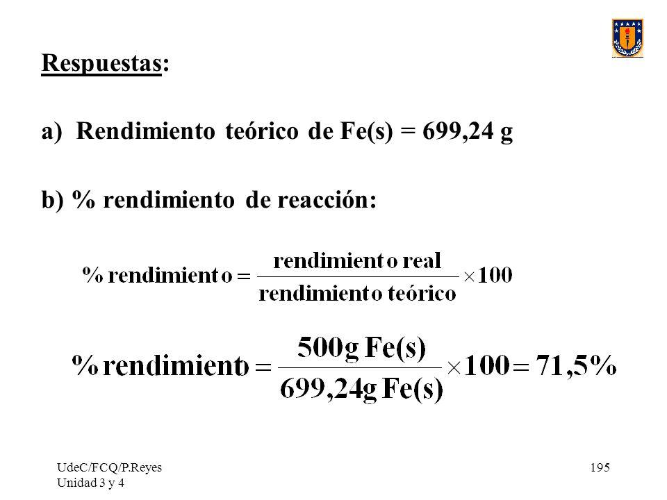 UdeC/FCQ/P.Reyes Unidad 3 y 4 195 Respuestas: a) Rendimiento teórico de Fe(s) = 699,24 g b) % rendimiento de reacción: