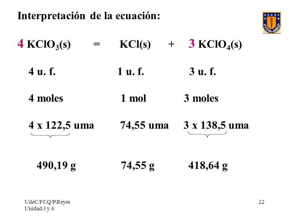 UdeC/FCQ/P.Reyes Unidad 3 y 4 22 Interpretación de la ecuación: 4 KClO 3 (s) = KCl(s) + 3 KClO 4 (s) 4 u. f. 1 u. f. 3 u. f. 4 moles 1 mol 3 moles 4 x