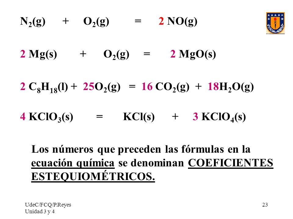 UdeC/FCQ/P.Reyes Unidad 3 y 4 23 N 2 (g) + O 2 (g) = 2 NO(g) 2 Mg(s) + O 2 (g) = 2 MgO(s) 2 C 8 H 18 (l) + 25O 2 (g) = 16 CO 2 (g) + 18H 2 O(g) 4 KClO