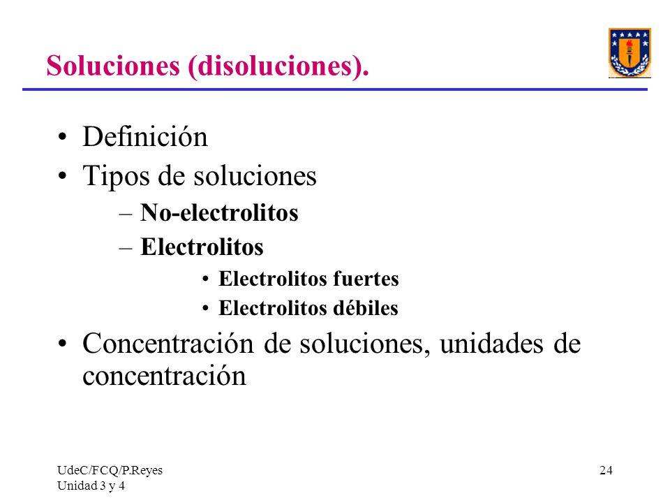 UdeC/FCQ/P.Reyes Unidad 3 y 4 24 Soluciones (disoluciones). Definición Tipos de soluciones –No-electrolitos –Electrolitos Electrolitos fuertes Electro