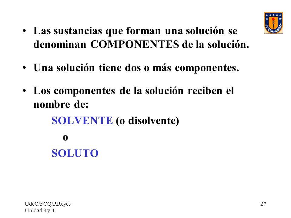 UdeC/FCQ/P.Reyes Unidad 3 y 4 27 Las sustancias que forman una solución se denominan COMPONENTES de la solución. Una solución tiene dos o más componen