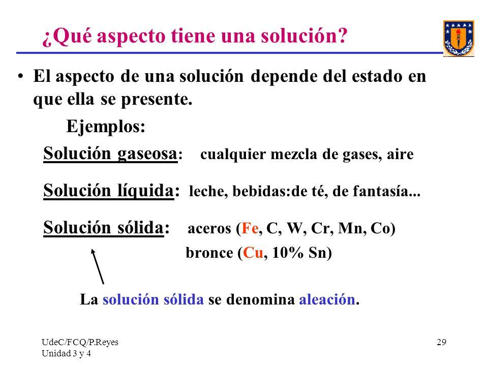 UdeC/FCQ/P.Reyes Unidad 3 y 4 29 ¿Qué aspecto tiene una solución? El aspecto de una solución depende del estado en que ella se presente. Ejemplos: Sol