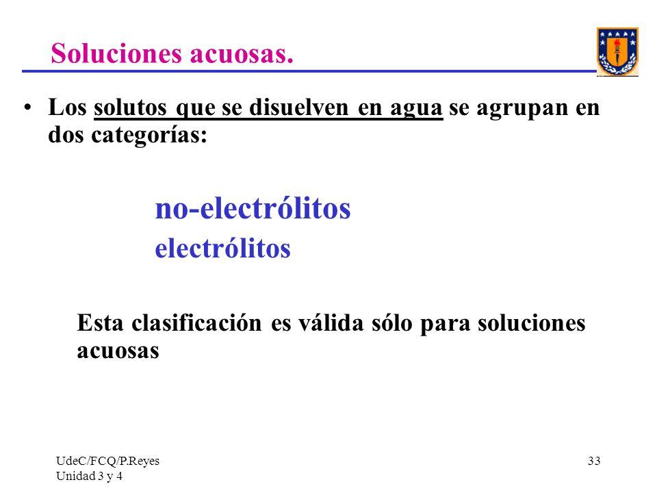 UdeC/FCQ/P.Reyes Unidad 3 y 4 33 Soluciones acuosas. Los solutos que se disuelven en agua se agrupan en dos categorías: no-electrólitos electrólitos E