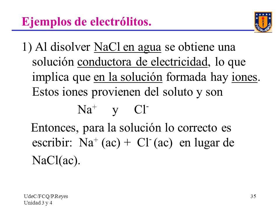 UdeC/FCQ/P.Reyes Unidad 3 y 4 35 Ejemplos de electrólitos. 1) Al disolver NaCl en agua se obtiene una solución conductora de electricidad, lo que impl