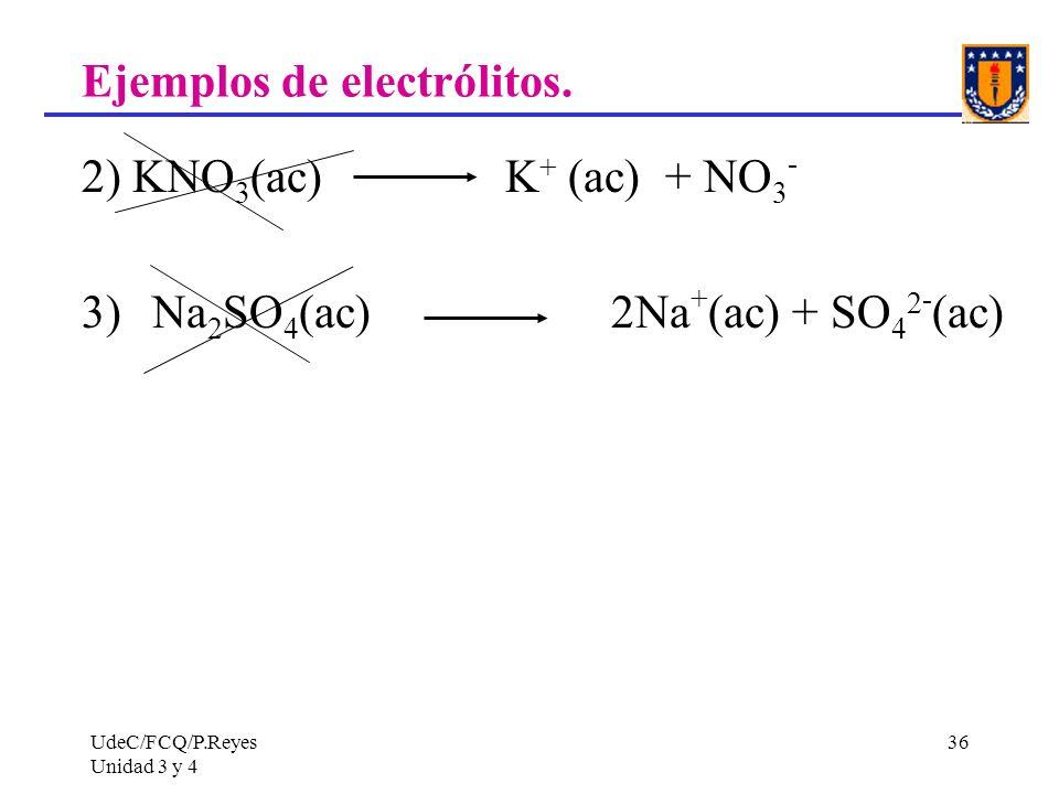 UdeC/FCQ/P.Reyes Unidad 3 y 4 36 Ejemplos de electrólitos. 2) KNO 3 (ac) K + (ac) + NO 3 - 3)Na 2 SO 4 (ac) 2Na + (ac) + SO 4 2 - (ac)