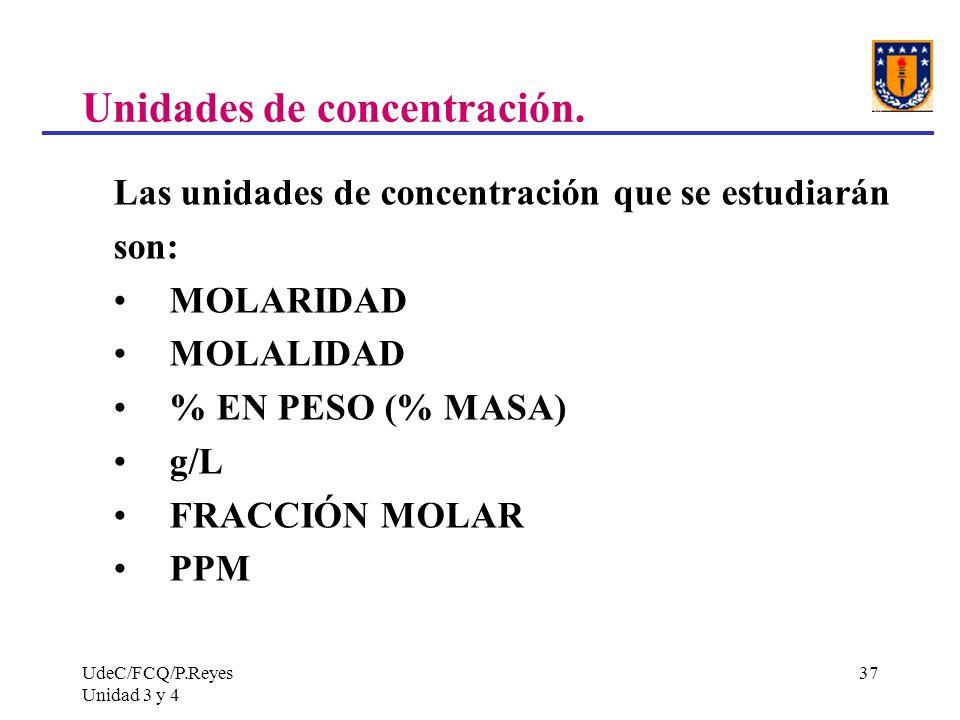 UdeC/FCQ/P.Reyes Unidad 3 y 4 37 Unidades de concentración. Las unidades de concentración que se estudiarán son: MOLARIDAD MOLALIDAD % EN PESO (% MASA