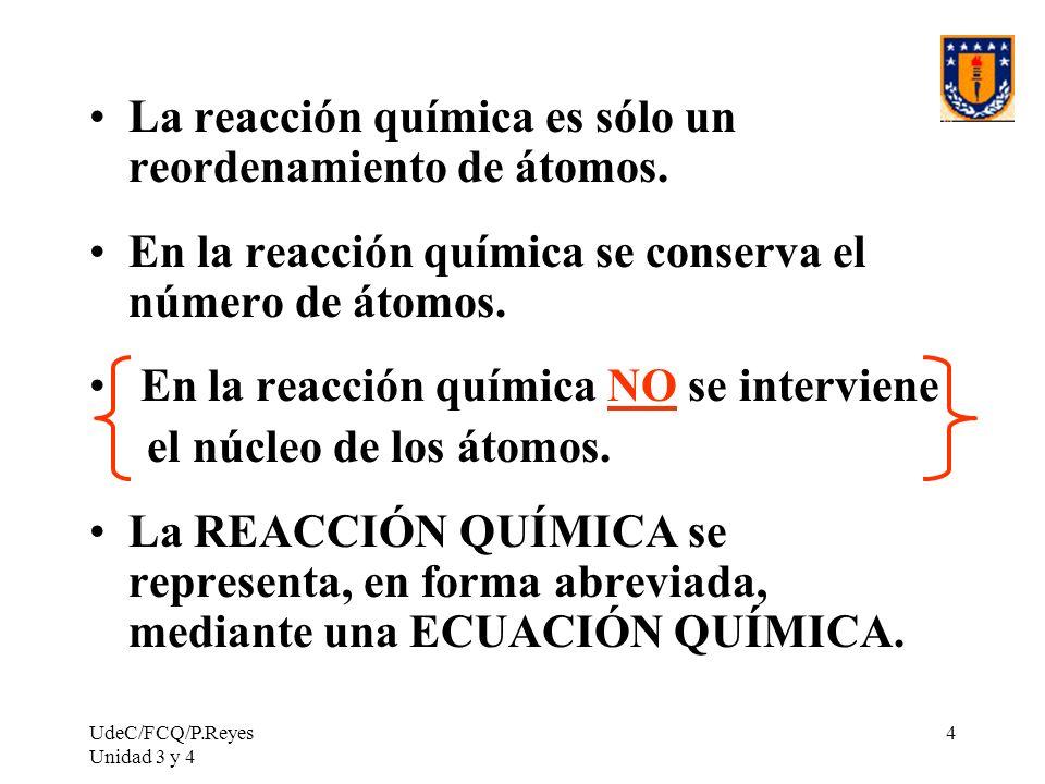 UdeC/FCQ/P.Reyes Unidad 3 y 4 15 Sustancias Fórmula EstadoReactante o Producto Magnesio: Mg (s) Reactante Oxígeno: O 2 (g) Reactante Óxido de magnesio: MgO (s) Producto Reacción: Mg(s) + O 2 (g) = MgO(s) Balance: Mg(s) + 1/2 O 2 (g) = MgO(s) ó 2 Mg(s) + O 2 (g) = 2 MgO(s)
