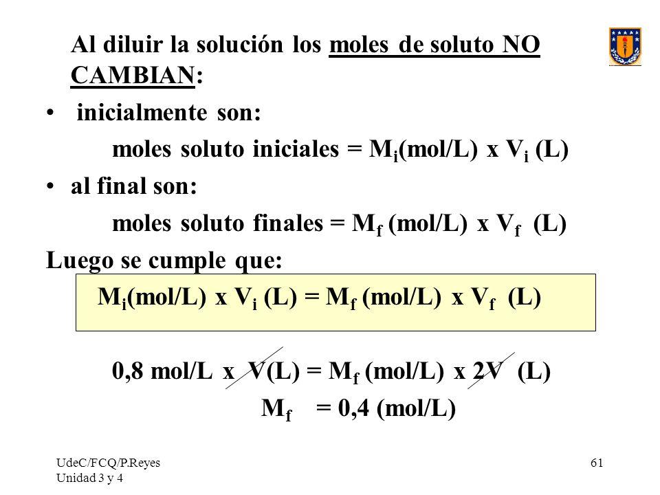 UdeC/FCQ/P.Reyes Unidad 3 y 4 61 Al diluir la solución los moles de soluto NO CAMBIAN: inicialmente son: moles soluto iniciales = M i (mol/L) x V i (L