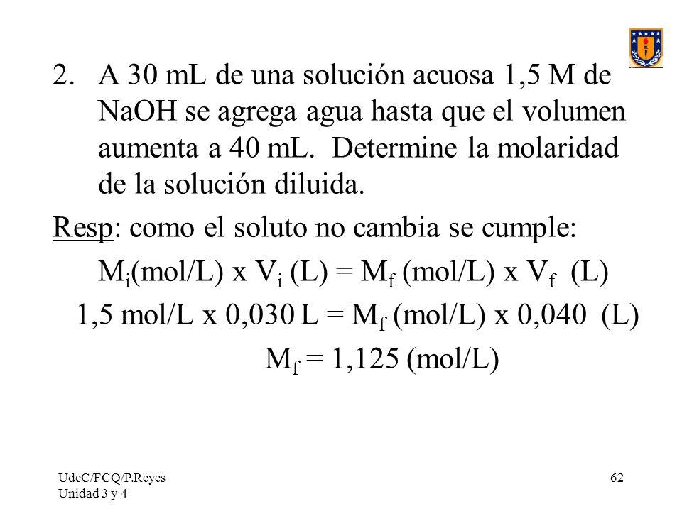 UdeC/FCQ/P.Reyes Unidad 3 y 4 62 2.A 30 mL de una solución acuosa 1,5 M de NaOH se agrega agua hasta que el volumen aumenta a 40 mL. Determine la mola