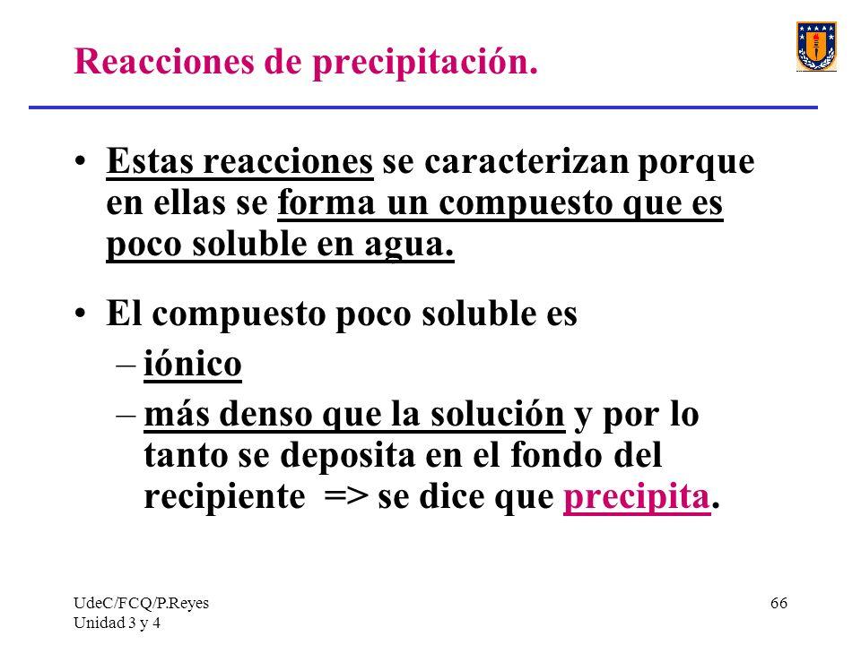 UdeC/FCQ/P.Reyes Unidad 3 y 4 66 Reacciones de precipitación. Estas reacciones se caracterizan porque en ellas se forma un compuesto que es poco solub