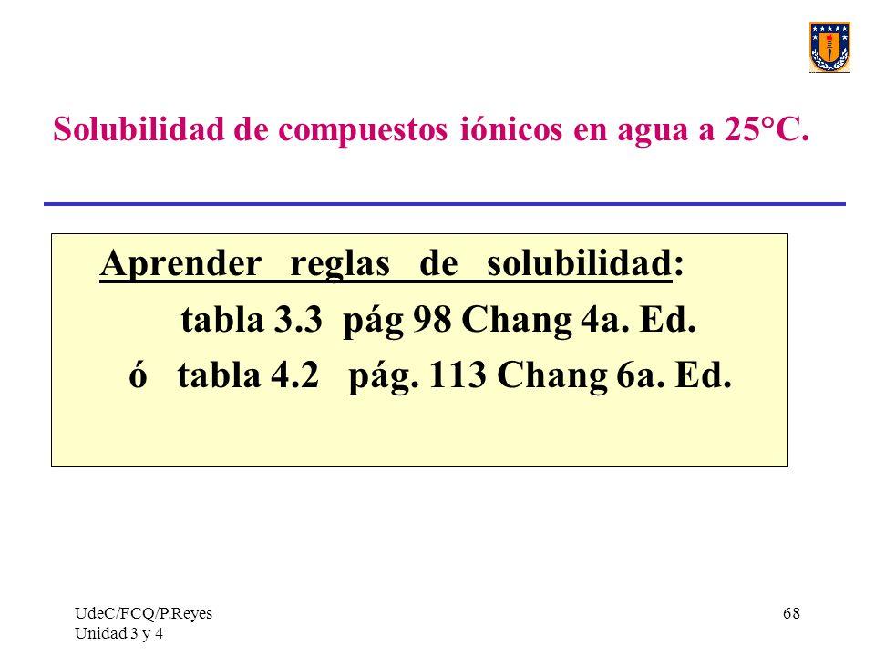 UdeC/FCQ/P.Reyes Unidad 3 y 4 68 Solubilidad de compuestos iónicos en agua a 25°C. Aprender reglas de solubilidad: tabla 3.3 pág 98 Chang 4a. Ed. ó ta