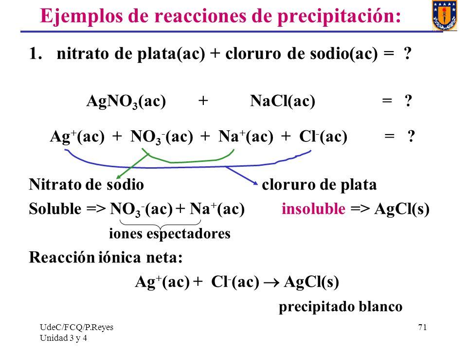UdeC/FCQ/P.Reyes Unidad 3 y 4 71 Ejemplos de reacciones de precipitación: 1. nitrato de plata(ac) + cloruro de sodio(ac) = ? AgNO 3 (ac) + NaCl(ac) =