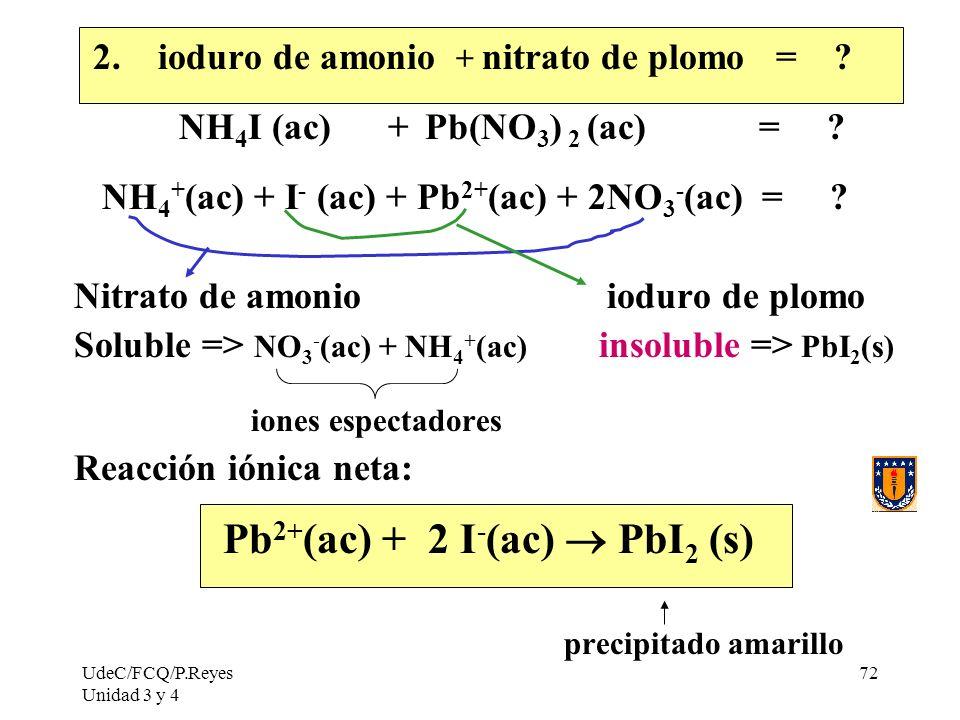 UdeC/FCQ/P.Reyes Unidad 3 y 4 72 2. ioduro de amonio + nitrato de plomo = ? NH 4 I (ac) + Pb(NO 3 ) 2 (ac) = ? NH 4 + (ac) + I - (ac) + Pb 2+ (ac) + 2