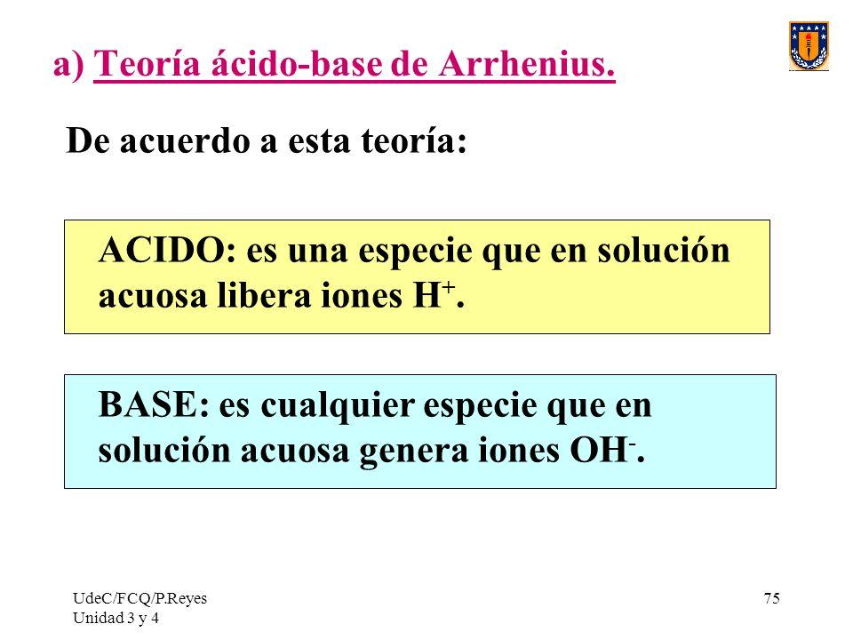 UdeC/FCQ/P.Reyes Unidad 3 y 4 75 a) Teoría ácido-base de Arrhenius. De acuerdo a esta teoría: ACIDO: es una especie que en solución acuosa libera ione