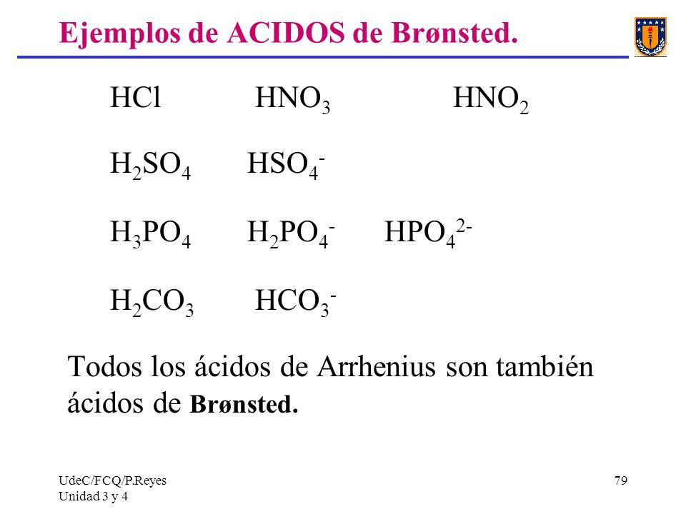 UdeC/FCQ/P.Reyes Unidad 3 y 4 79 Ejemplos de ACIDOS de Brønsted. HCl HNO 3 HNO 2 H 2 SO 4 HSO 4 - H 3 PO 4 H 2 PO 4 - HPO 4 2- H 2 CO 3 HCO 3 - Todos