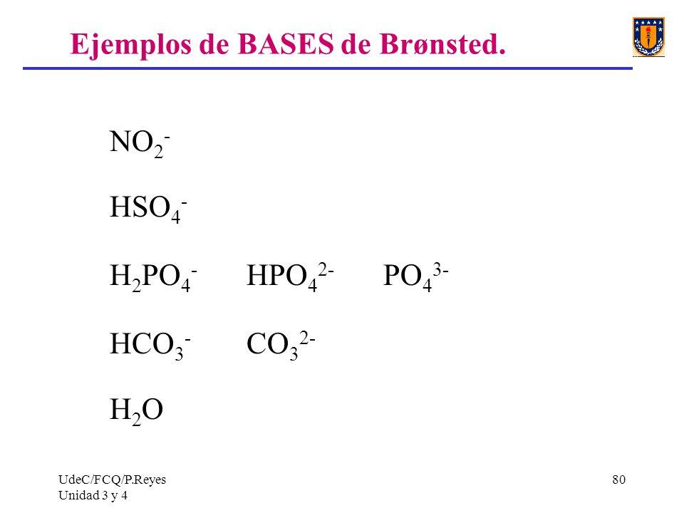 UdeC/FCQ/P.Reyes Unidad 3 y 4 80 Ejemplos de BASES de Brønsted. NO 2 - HSO 4 - H 2 PO 4 - HPO 4 2- PO 4 3- HCO 3 - CO 3 2- H 2 O