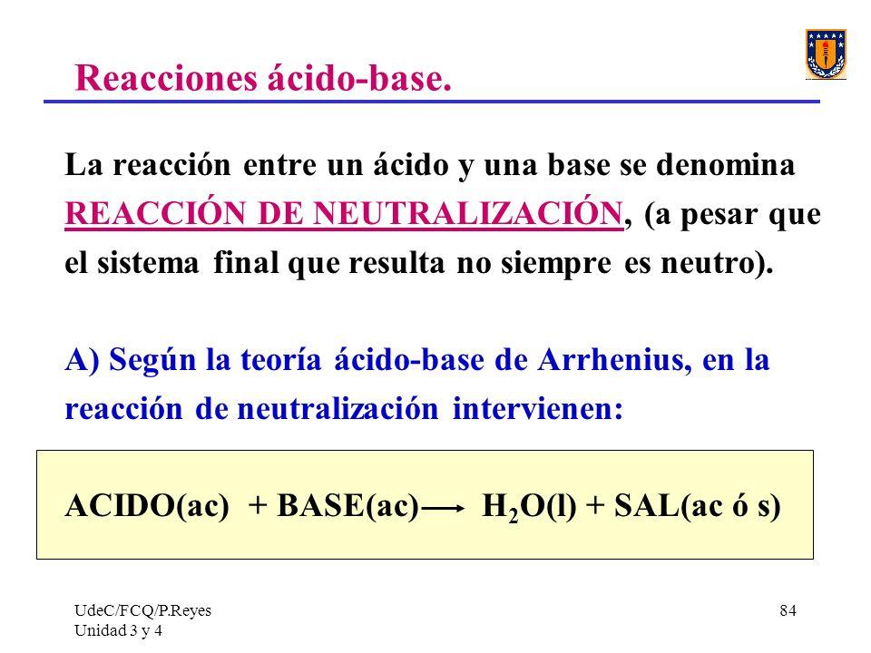 UdeC/FCQ/P.Reyes Unidad 3 y 4 84 Reacciones ácido-base. La reacción entre un ácido y una base se denomina REACCIÓN DE NEUTRALIZACIÓN, (a pesar que el
