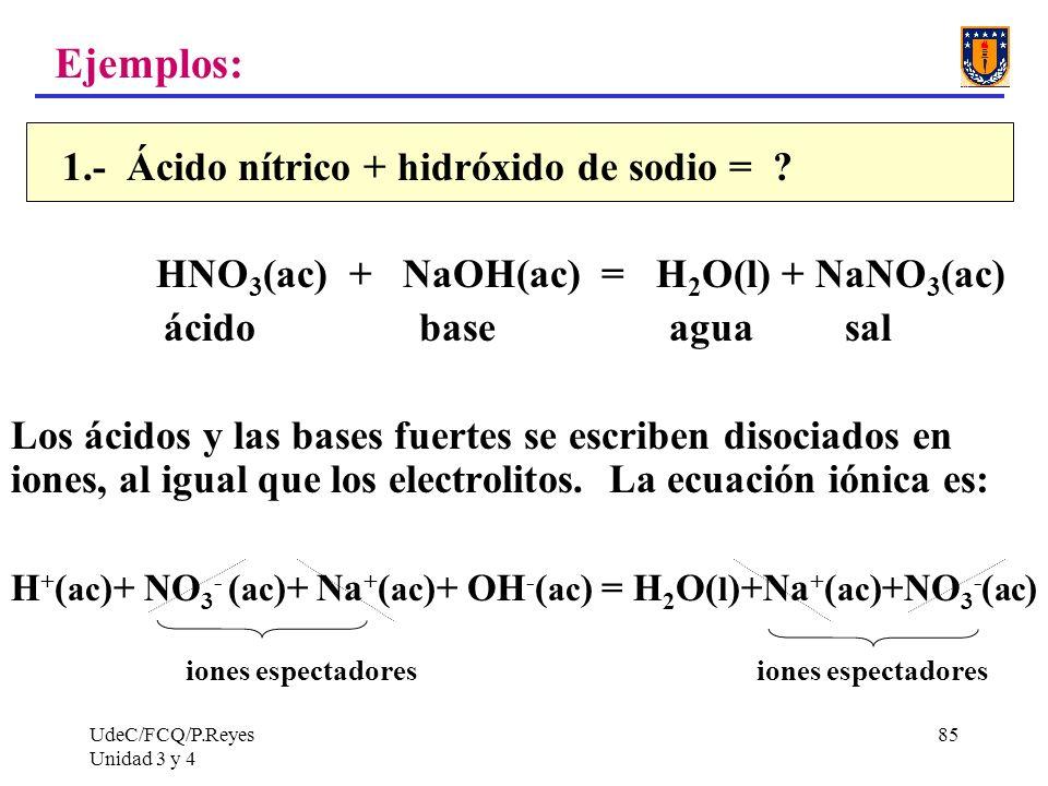 UdeC/FCQ/P.Reyes Unidad 3 y 4 85 Ejemplos: 1.- Ácido nítrico + hidróxido de sodio = ? HNO 3 (ac) + NaOH(ac) = H 2 O(l) + NaNO 3 (ac) ácido base agua s