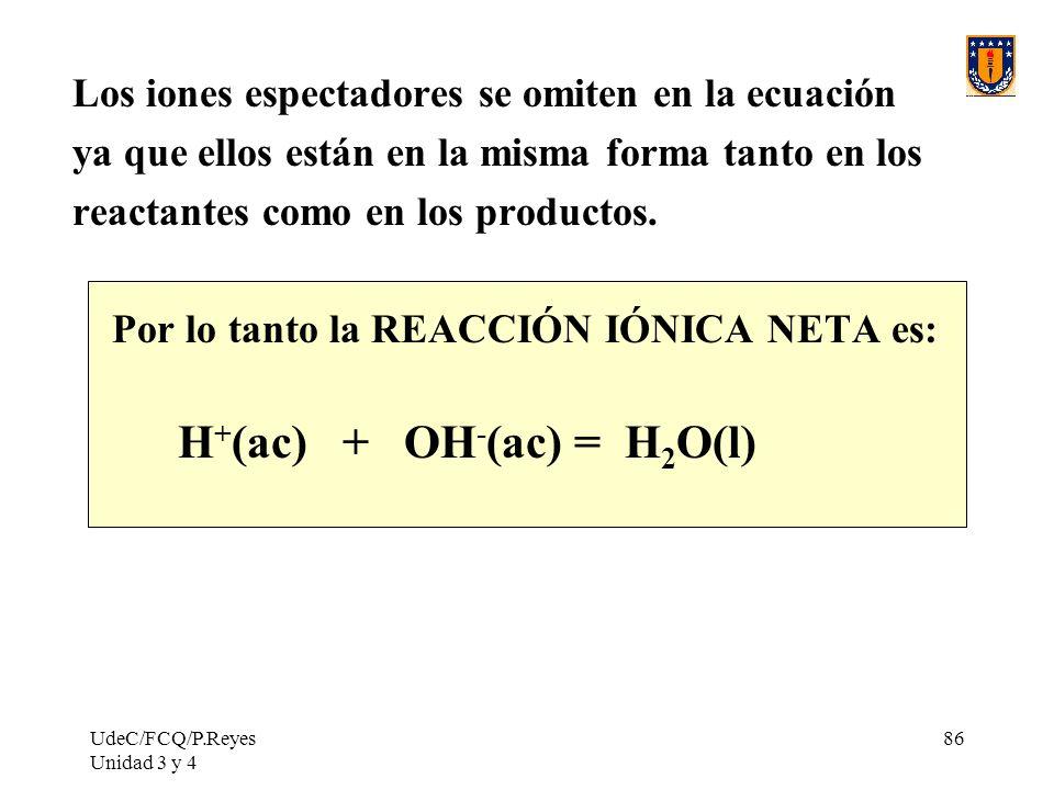 UdeC/FCQ/P.Reyes Unidad 3 y 4 86 Los iones espectadores se omiten en la ecuación ya que ellos están en la misma forma tanto en los reactantes como en