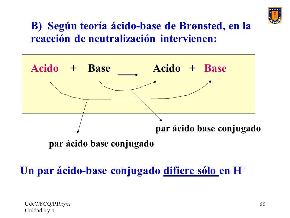 UdeC/FCQ/P.Reyes Unidad 3 y 4 88 B) Según teoría ácido-base de Brønsted, en la reacción de neutralización intervienen: Acido + Base par ácido base con